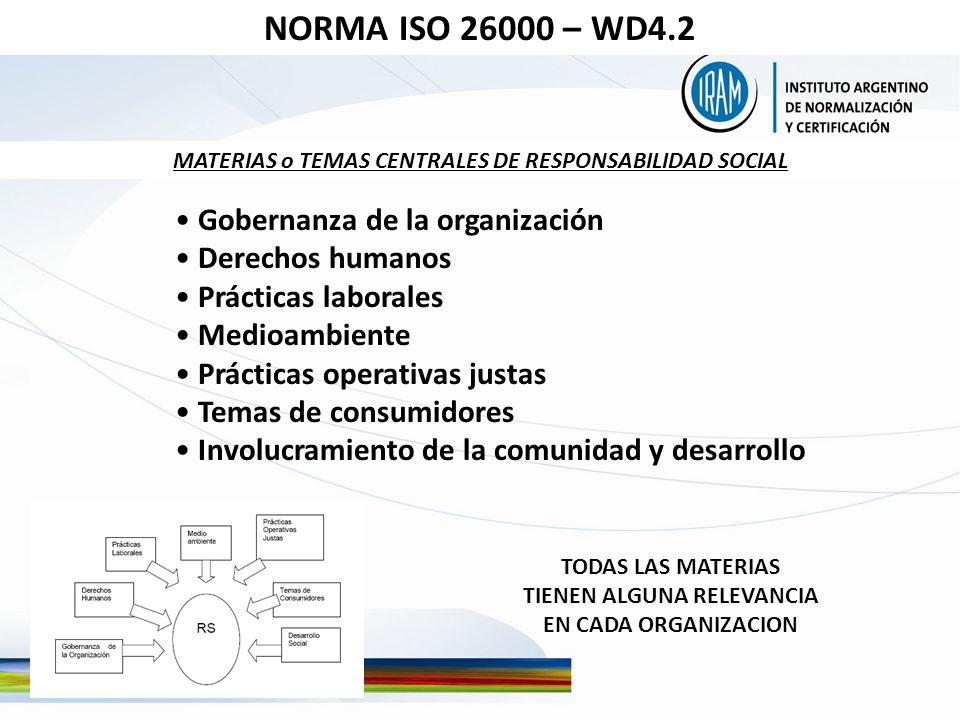 Gobernanza de la organización Derechos humanos Prácticas laborales Medioambiente Prácticas operativas justas Temas de consumidores Involucramiento de