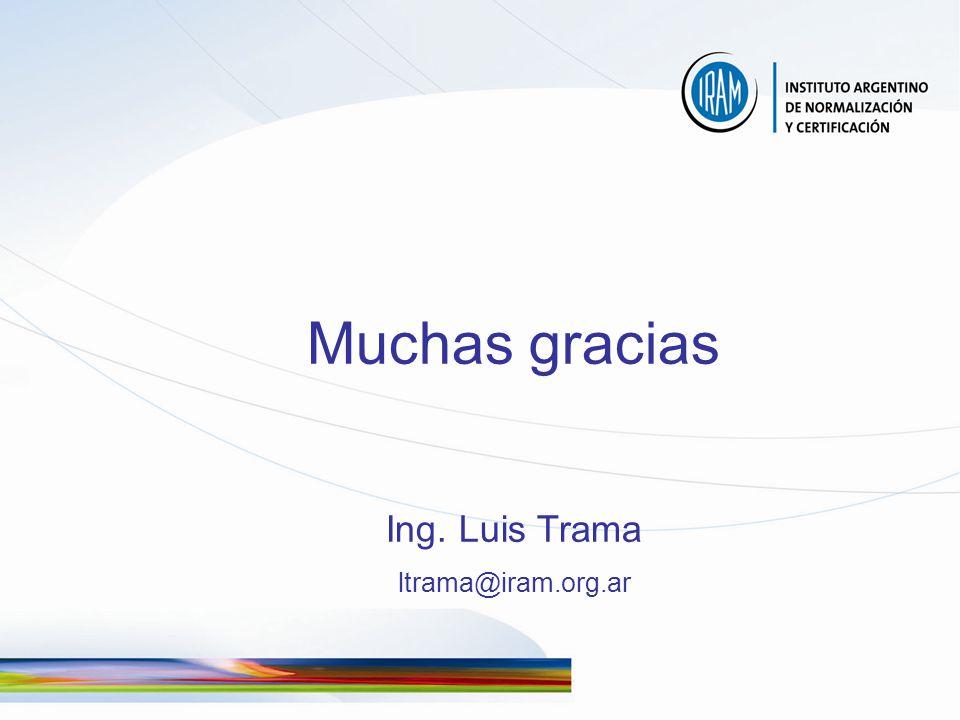 Muchas gracias Ing. Luis Trama ltrama@iram.org.ar