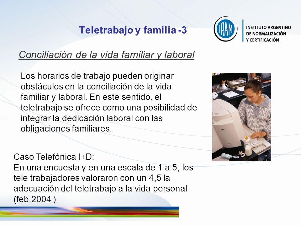 Teletrabajo y familia -3 Conciliación de la vida familiar y laboral Los horarios de trabajo pueden originar obstáculos en la conciliación de la vida f