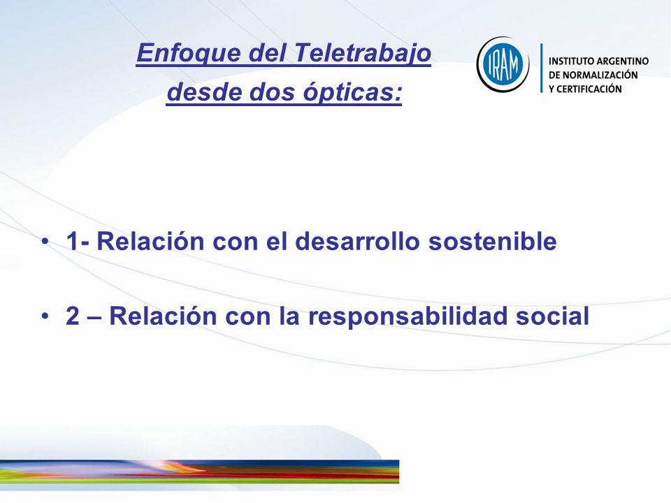 Enfoque del Teletrabajo desde dos ópticas: 1- Relación con el desarrollo sostenible 2 – Relación con la responsabilidad social
