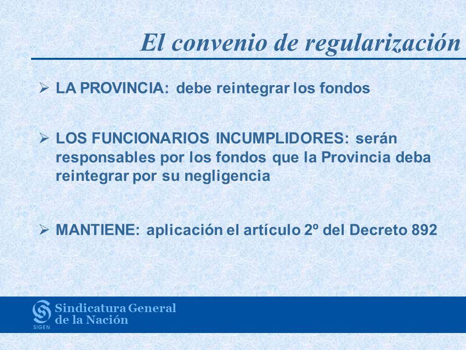 Sindicatura General de la Nación LA PROVINCIA: debe reintegrar los fondos LOS FUNCIONARIOS INCUMPLIDORES: serán responsables por los fondos que la Pro