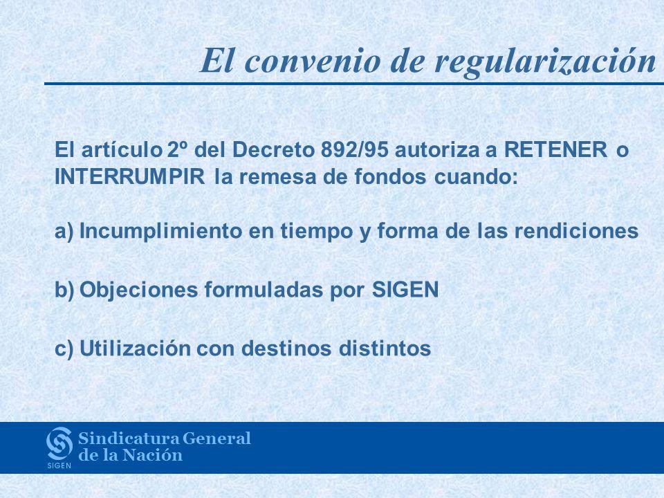 Sindicatura General de la Nación El artículo 2º del Decreto 892/95 autoriza a RETENER o INTERRUMPIR la remesa de fondos cuando: a)Incumplimiento en ti