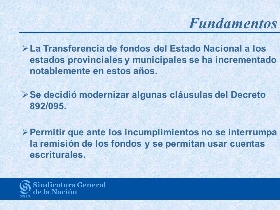 Fundamentos La Transferencia de fondos del Estado Nacional a los estados provinciales y municipales se ha incrementado notablemente en estos años. Se