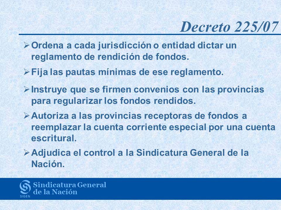 Decreto 225/07 Sindicatura General de la Nación Ordena a cada jurisdicción o entidad dictar un reglamento de rendición de fondos. Fija las pautas míni