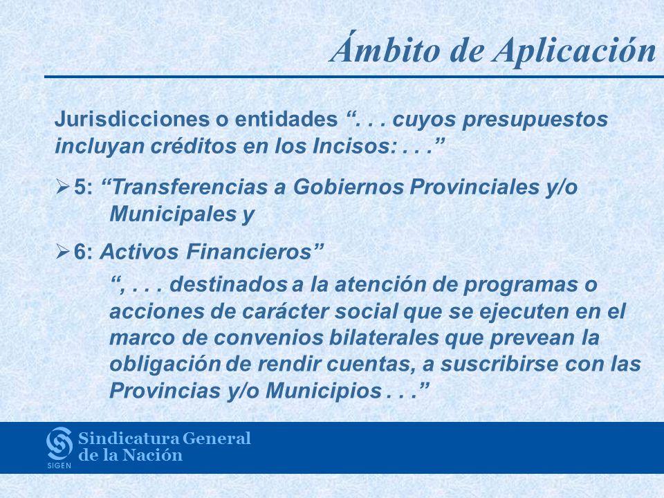 Ámbito de Aplicación Sindicatura General de la Nación Jurisdicciones o entidades...