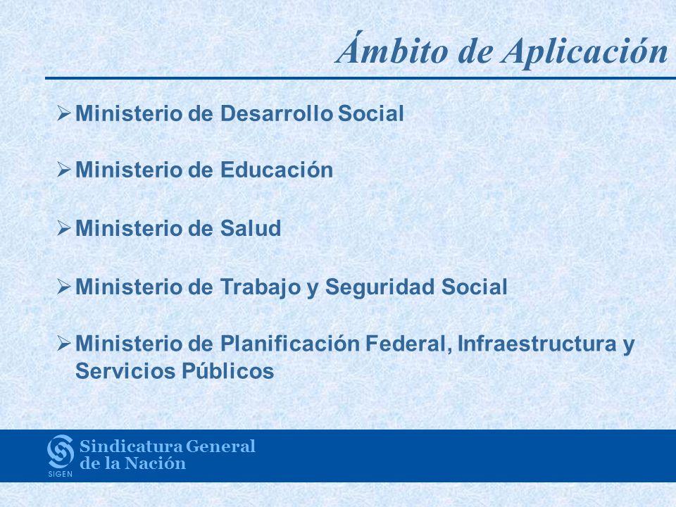 Sindicatura General de la Nación Ministerio de Desarrollo Social Ministerio de Educación Ministerio de Salud Ministerio de Trabajo y Seguridad Social Ministerio de Planificación Federal, Infraestructura y Servicios Públicos Ámbito de Aplicación