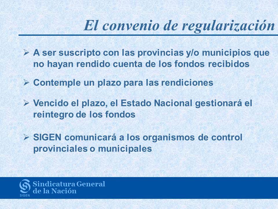 El convenio de regularización Sindicatura General de la Nación A ser suscripto con las provincias y/o municipios que no hayan rendido cuenta de los fo