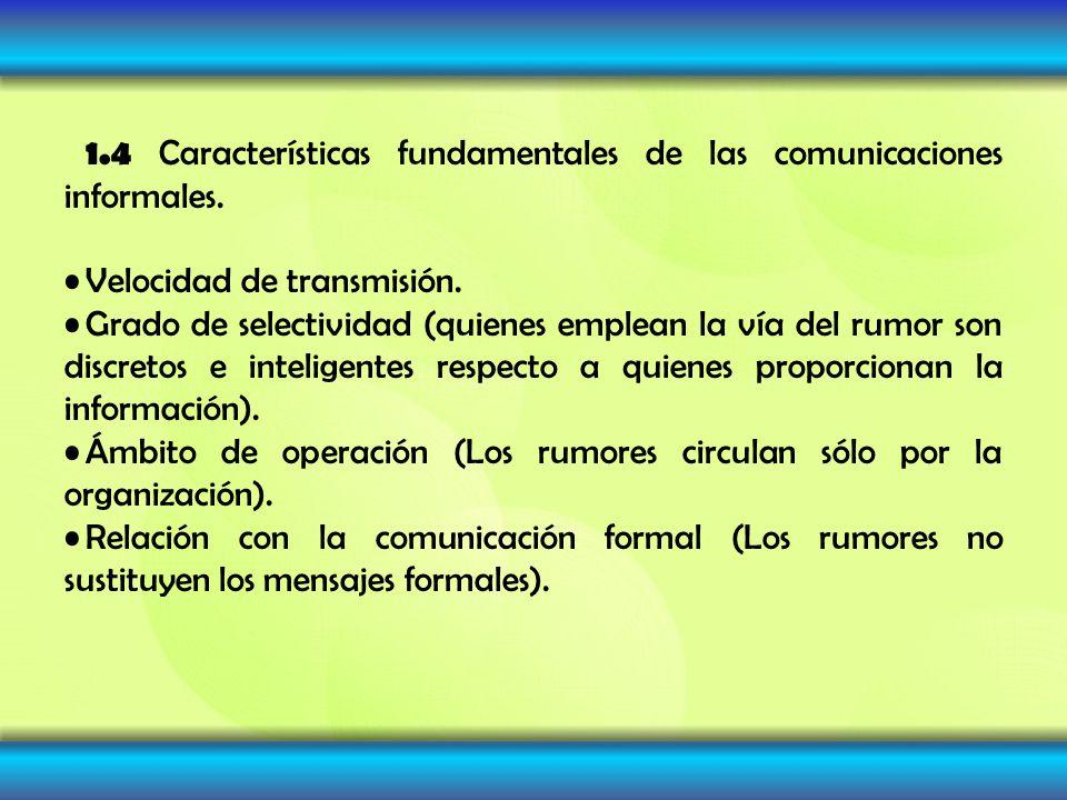 1.4 Características fundamentales de las comunicaciones informales. Velocidad de transmisión. Grado de selectividad (quienes emplean la vía del rumor