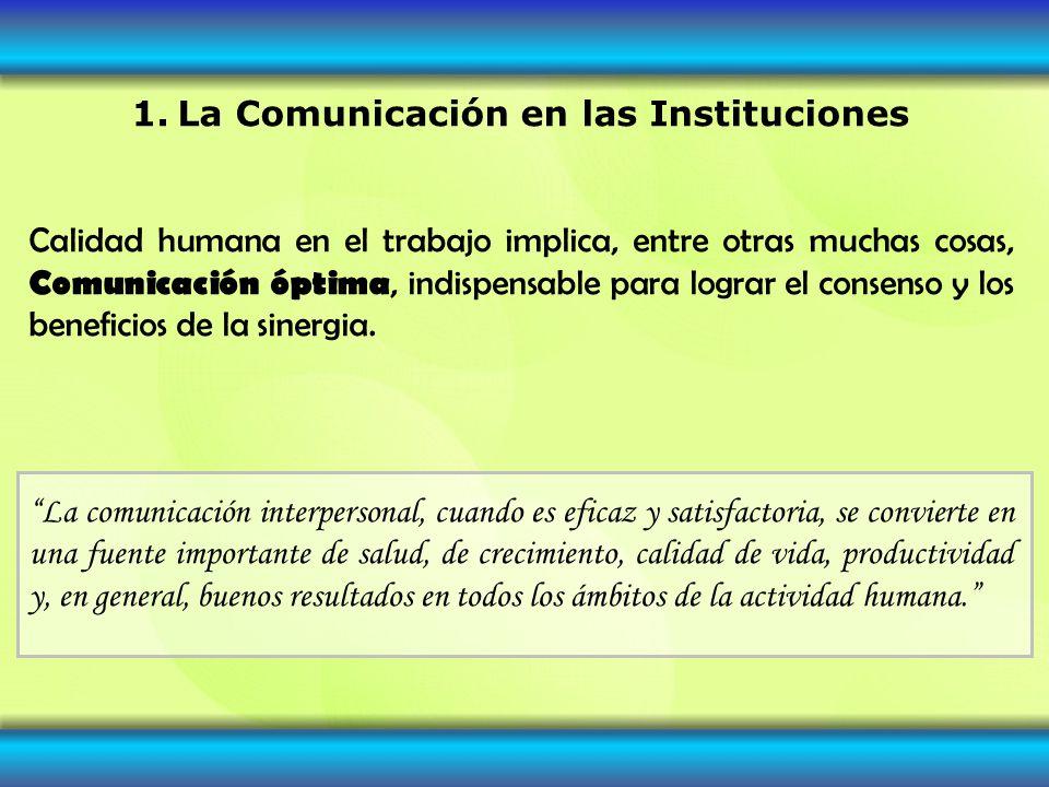 1. La Comunicación en las Instituciones Calidad humana en el trabajo implica, entre otras muchas cosas, Comunicación óptima, indispensable para lograr