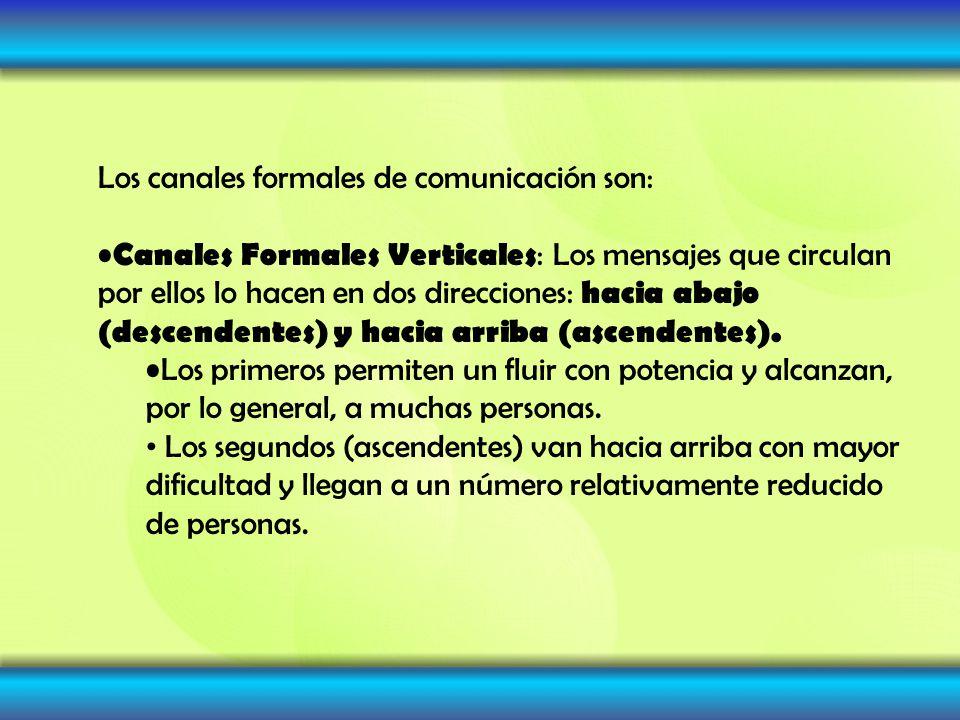 Los canales formales de comunicación son: Canales Formales Verticales : Los mensajes que circulan por ellos lo hacen en dos direcciones: hacia abajo (