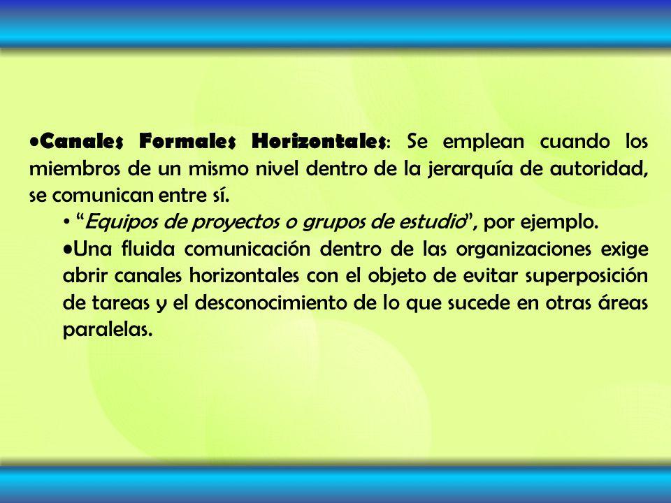 Canales Formales Horizontales : Se emplean cuando los miembros de un mismo nivel dentro de la jerarquía de autoridad, se comunican entre sí. Equipos d