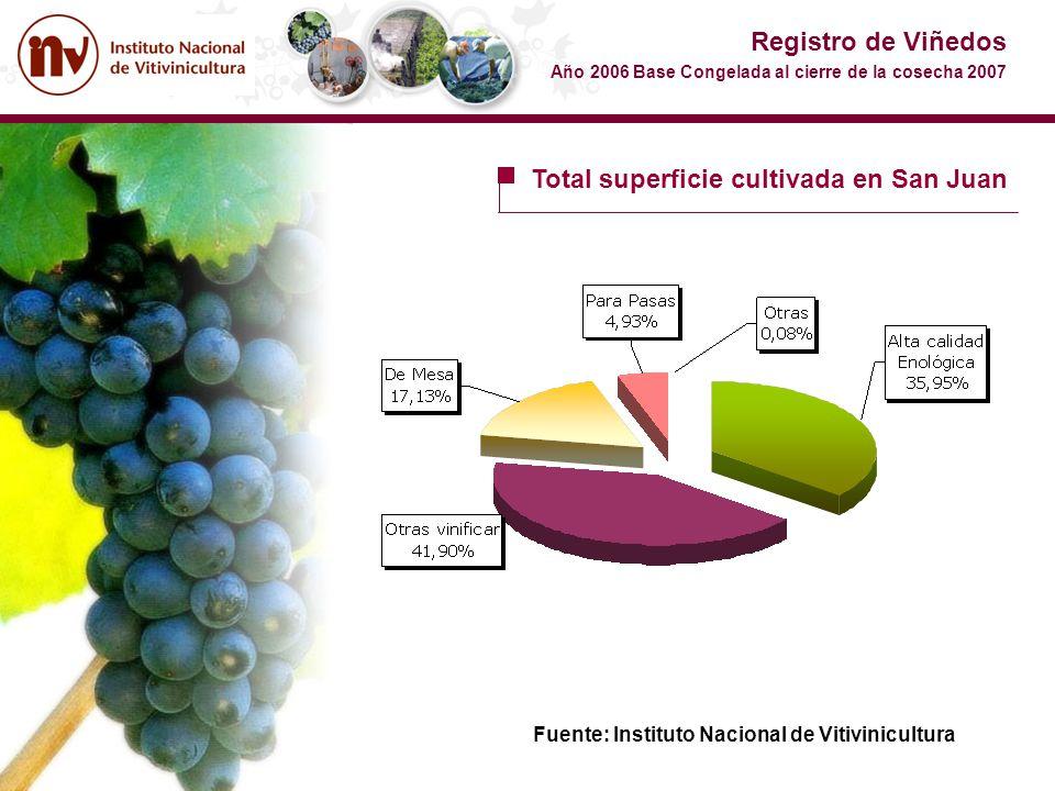 Total superficie cultivada en San Juan Registro de Viñedos Año 2006 Base Congelada al cierre de la cosecha 2007 Fuente: Instituto Nacional de Vitivini