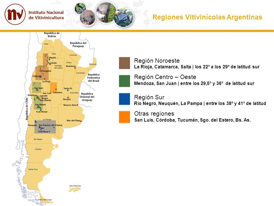 Regiones Vitivinícolas Argentinas Región Noroeste La Rioja, Catamarca, Salta | los 22º a los 29º de latitud sur Región Centro – Oeste Mendoza, San Jua