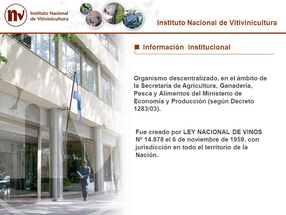 Instituto Nacional de Vitivinicultura Organismo descentralizado, en el ámbito de la Secretaría de Agricultura, Ganadería, Pesca y Alimentos del Minist