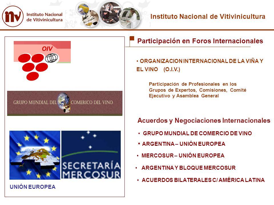 Instituto Nacional de Vitivinicultura Participación en Foros Internacionales ORGANIZACION INTERNACIONAL DE LA VIÑA Y EL VINO (O.I.V.) GRUPO MUNDIAL DE