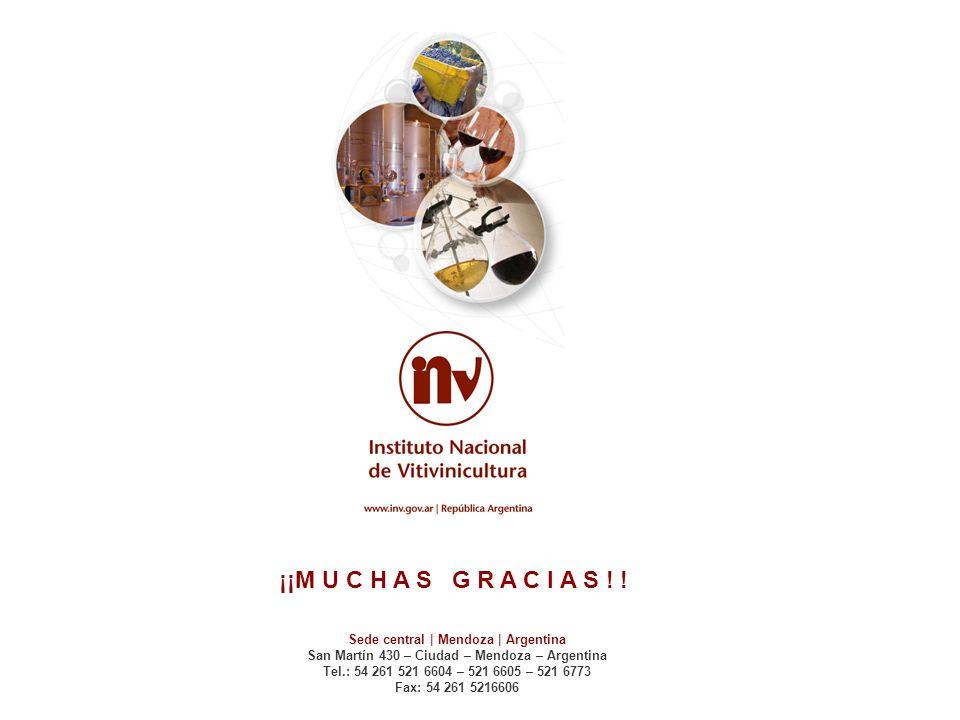 ¡¡M U C H A S G R A C I A S ! ! Sede central | Mendoza | Argentina San Martín 430 – Ciudad – Mendoza – Argentina Tel.: 54 261 521 6604 – 521 6605 – 52