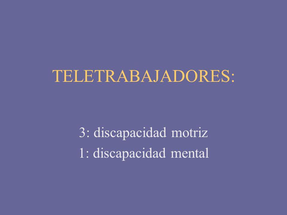 TELETRABAJADORES: 3: discapacidad motriz 1: discapacidad mental