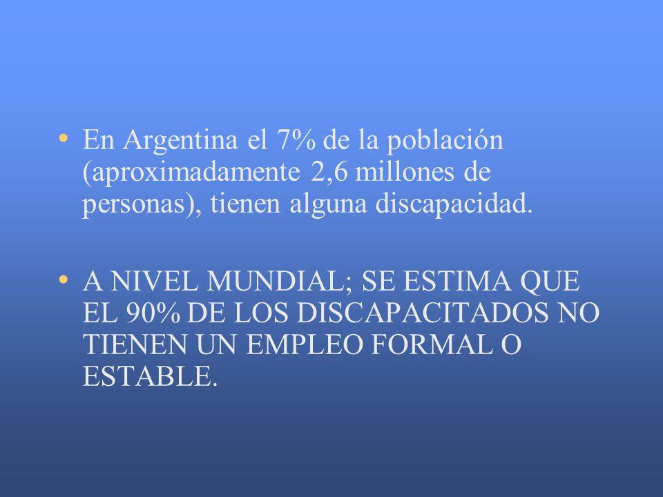 En Argentina el 7% de la población (aproximadamente 2,6 millones de personas), tienen alguna discapacidad.