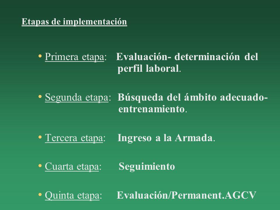 Primera etapa: Evaluación- determinación del perfil laboral.