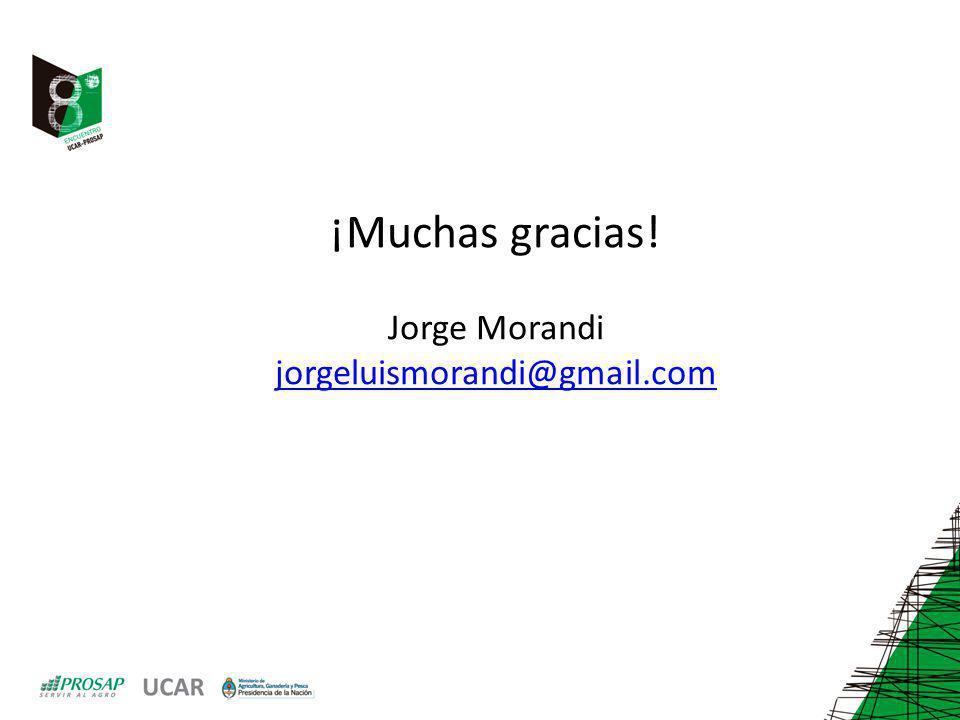 ¡Muchas gracias! Jorge Morandi jorgeluismorandi@gmail.com