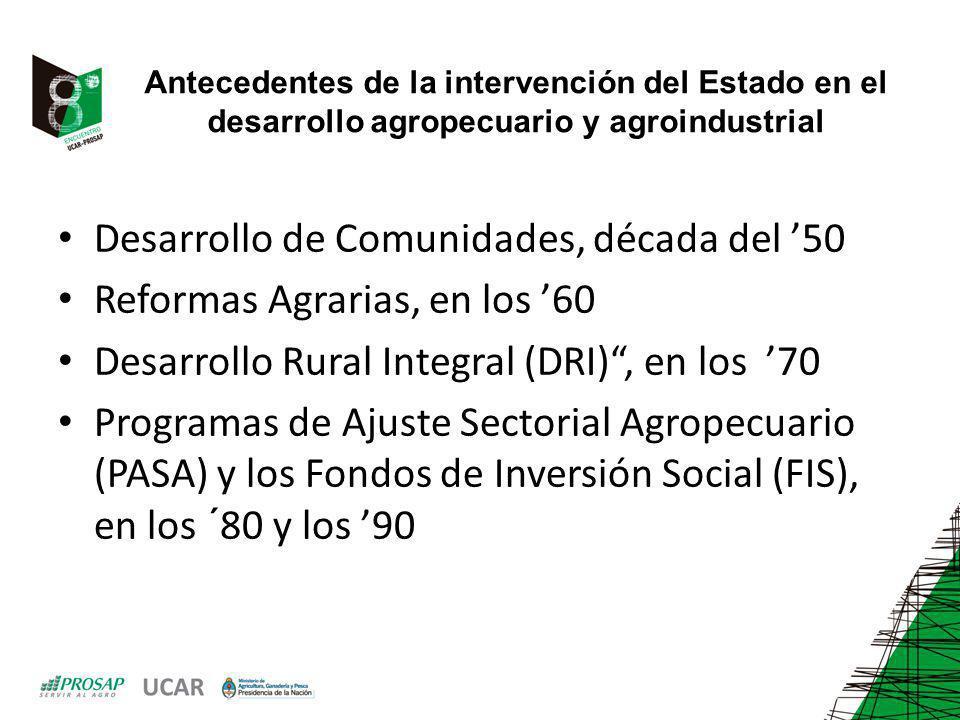 Antecedentes de la intervención del Estado en el desarrollo agropecuario y agroindustrial Desarrollo de Comunidades, década del 50 Reformas Agrarias,