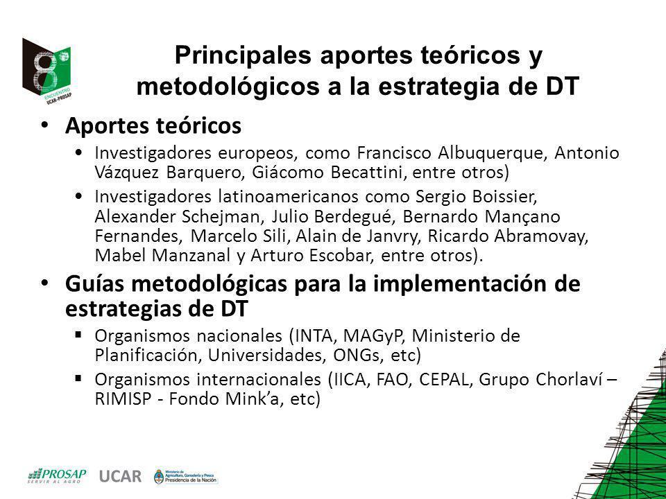 Principales aportes teóricos y metodológicos a la estrategia de DT Aportes teóricos Investigadores europeos, como Francisco Albuquerque, Antonio Vázqu