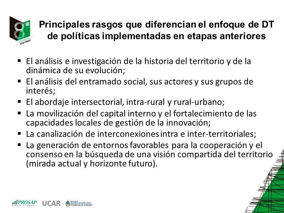 Principales rasgos que diferencian el enfoque de DT de políticas implementadas en etapas anteriores El análisis e investigación de la historia del ter