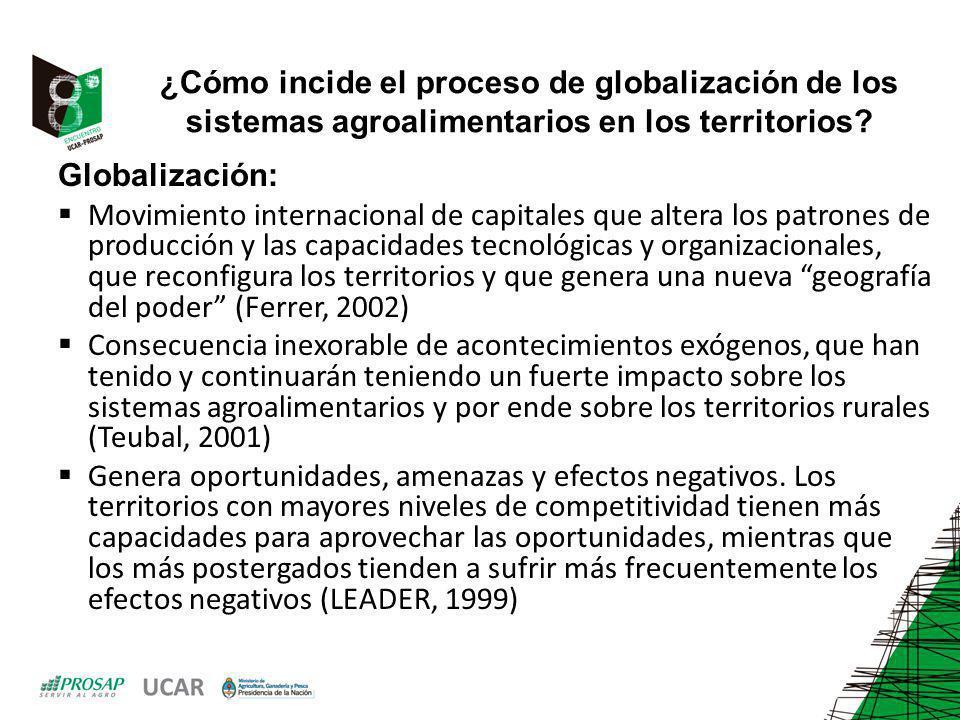 ¿Cómo incide el proceso de globalización de los sistemas agroalimentarios en los territorios? Globalización: Movimiento internacional de capitales que