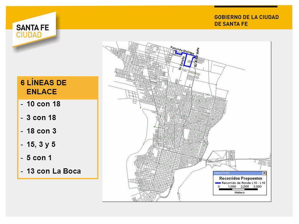 6 LÍNEAS DE ENLACE -10 con 18 -3 con 18 -18 con 3 -15, 3 y 5 -5 con 1 -13 con La Boca