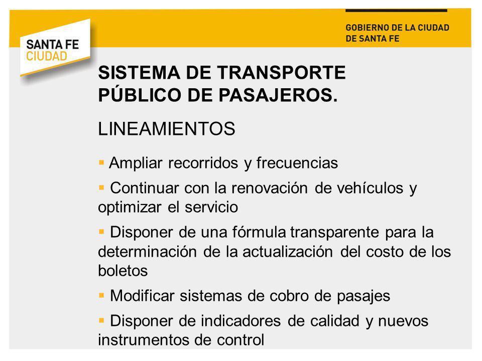 SISTEMA DE TRANSPORTE PÚBLICO DE PASAJEROS. LINEAMIENTOS Ampliar recorridos y frecuencias Continuar con la renovación de vehículos y optimizar el serv