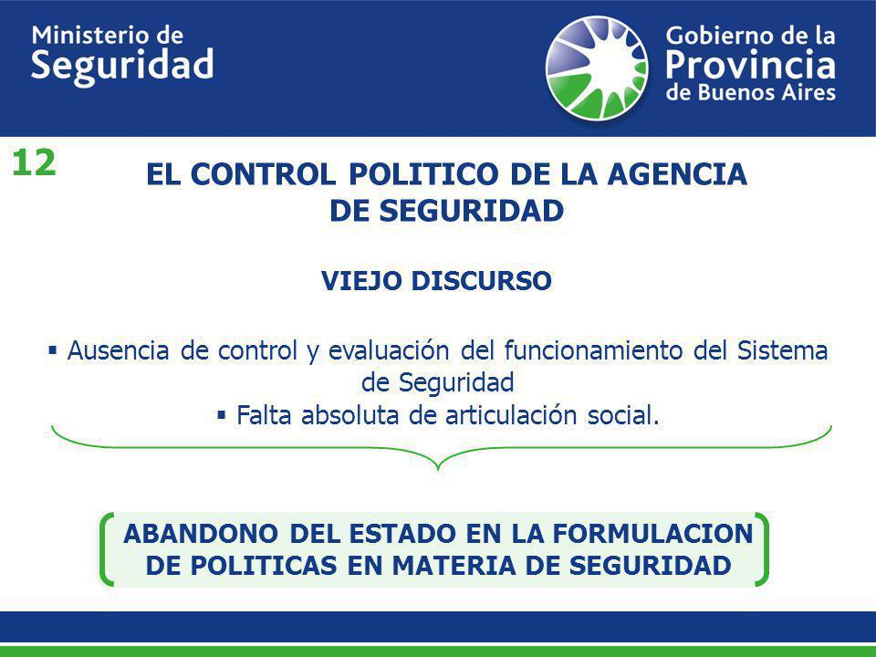 EL CONTROL POLITICO DE LA AGENCIA DE SEGURIDAD Ausencia de control y evaluación del funcionamiento del Sistema de Seguridad Falta absoluta de articula