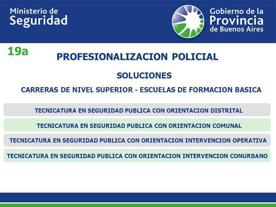 SOLUCIONES PROFESIONALIZACION POLICIAL CARRERAS DE NIVEL SUPERIOR - ESCUELAS DE FORMACION BASICA TECNICATURA EN SEGURIDAD PUBLICA CON ORIENTACION DIST