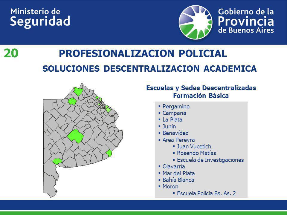 SOLUCIONES DESCENTRALIZACION ACADEMICA PROFESIONALIZACION POLICIAL Escuelas y Sedes Descentralizadas Formación Básica Pergamino Campana La Plata Junín