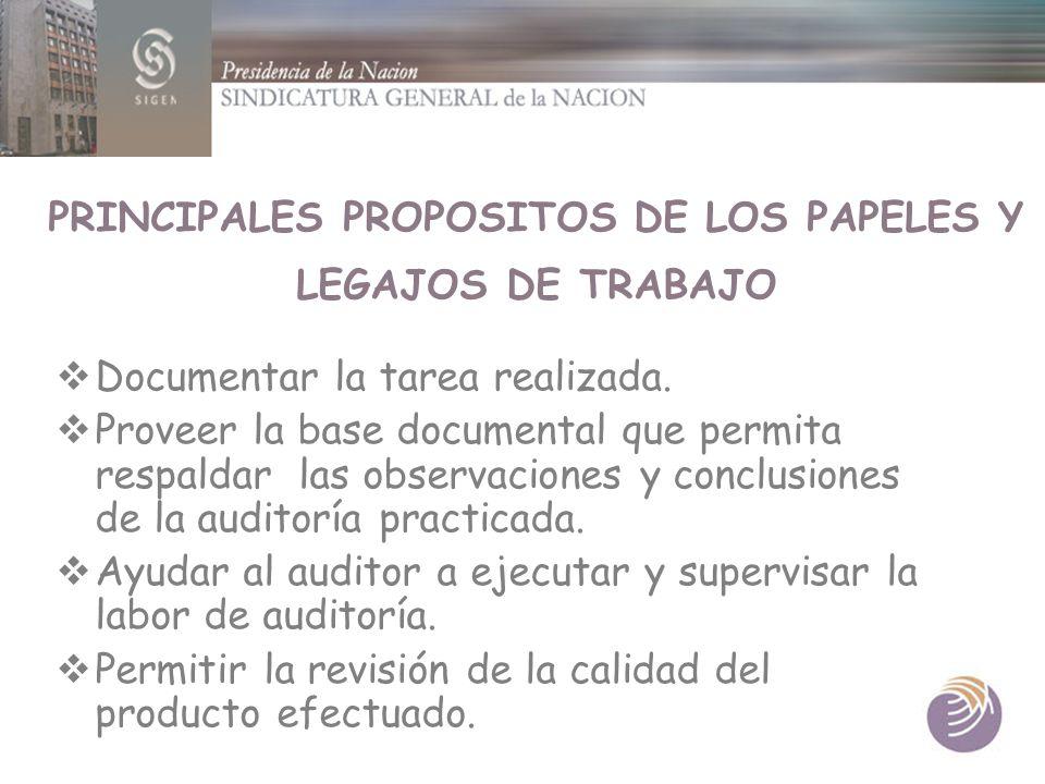 PRINCIPALES PROPOSITOS DE LOS PAPELES Y LEGAJOS DE TRABAJO Documentar la tarea realizada. Proveer la base documental que permita respaldar las observa