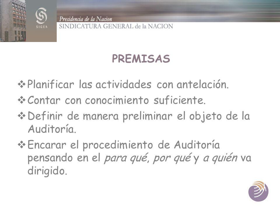 PREMISAS Planificar las actividades con antelación. Contar con conocimiento suficiente. Definir de manera preliminar el objeto de la Auditoría. Encara