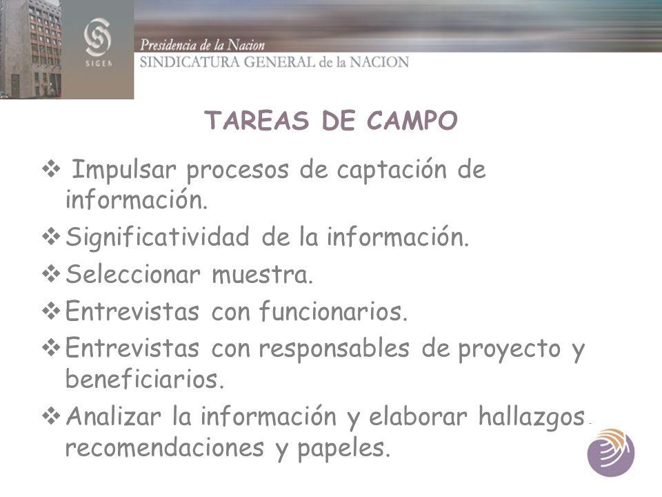 TAREAS DE CAMPO Impulsar procesos de captación de información. Significatividad de la información. Seleccionar muestra. Entrevistas con funcionarios.