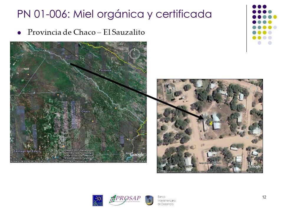 Banco Interamericano de Desarrollo 12 PN 01-006: Miel orgánica y certificada Provincia de Chaco – El Sauzalito