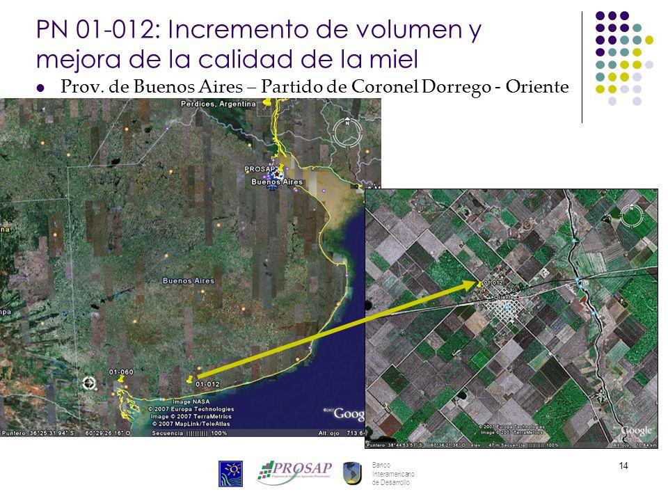 Banco Interamericano de Desarrollo 14 PN 01-012: Incremento de volumen y mejora de la calidad de la miel Prov. de Buenos Aires – Partido de Coronel Do