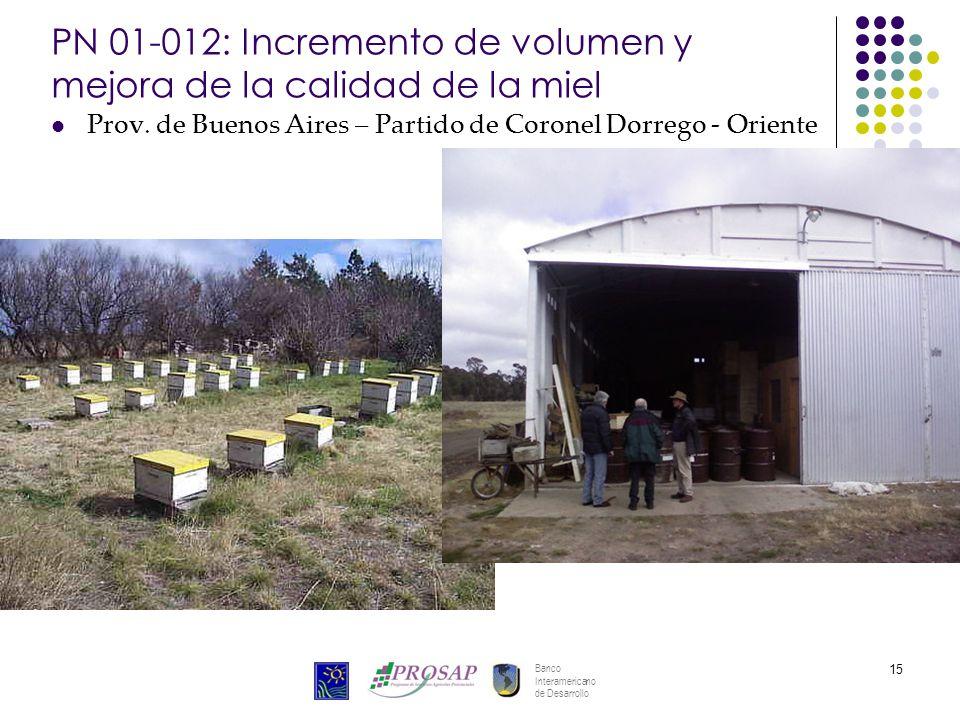Banco Interamericano de Desarrollo 15 PN 01-012: Incremento de volumen y mejora de la calidad de la miel Prov.