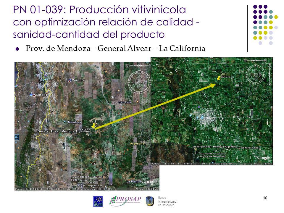 Banco Interamericano de Desarrollo 16 PN 01-039: Producción vitivinícola con optimización relación de calidad - sanidad-cantidad del producto Prov. de