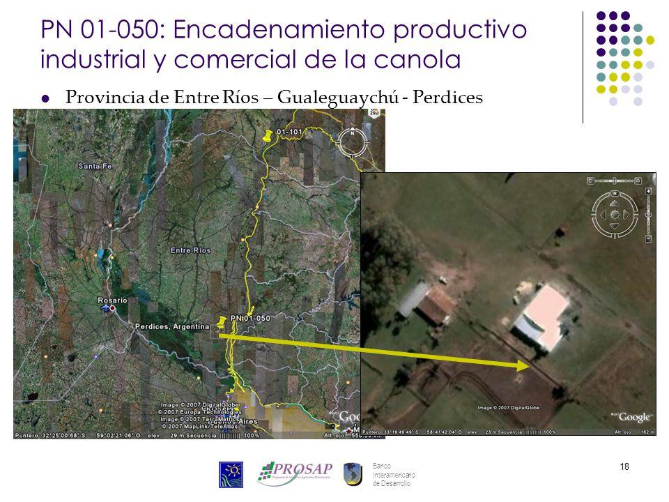 Banco Interamericano de Desarrollo 18 PN 01-050: Encadenamiento productivo industrial y comercial de la canola Provincia de Entre Ríos – Gualeguaychú