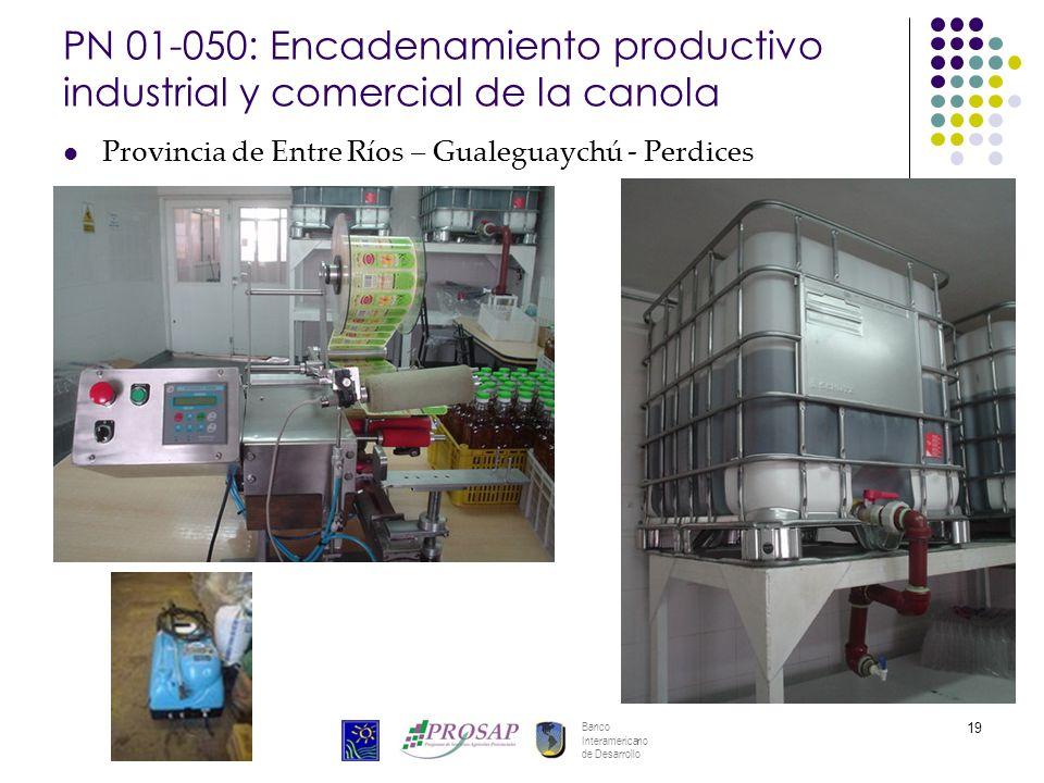 Banco Interamericano de Desarrollo 19 PN 01-050: Encadenamiento productivo industrial y comercial de la canola Provincia de Entre Ríos – Gualeguaychú - Perdices