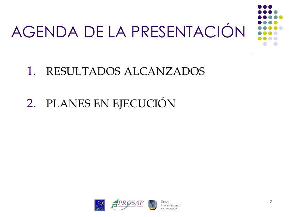 Banco Interamericano de Desarrollo 2 AGENDA DE LA PRESENTACIÓN 1. RESULTADOS ALCANZADOS 2. PLANES EN EJECUCIÓN