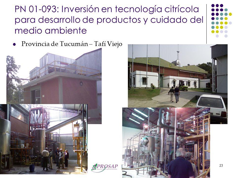 Banco Interamericano de Desarrollo 23 PN 01-093: Inversión en tecnología citrícola para desarrollo de productos y cuidado del medio ambiente Provincia