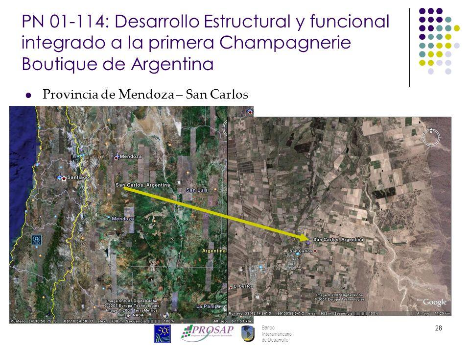 Banco Interamericano de Desarrollo 28 PN 01-114: Desarrollo Estructural y funcional integrado a la primera Champagnerie Boutique de Argentina Provincia de Mendoza – San Carlos