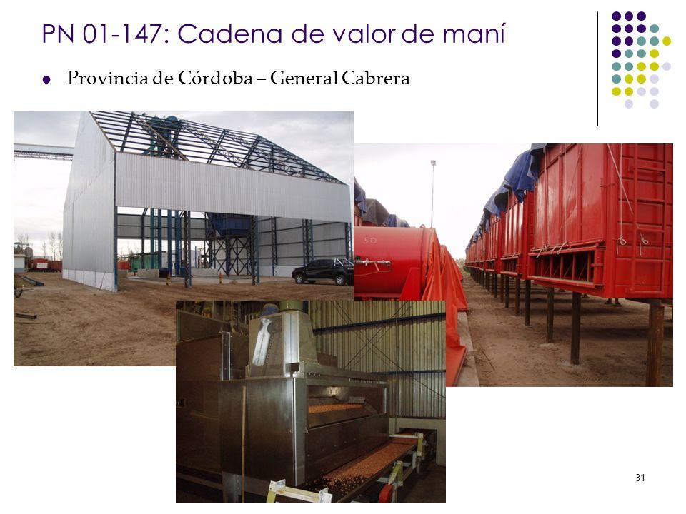 Banco Interamericano de Desarrollo 31 PN 01-147: Cadena de valor de maní Provincia de Córdoba – General Cabrera