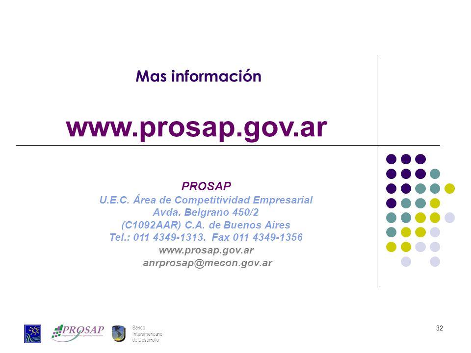 Banco Interamericano de Desarrollo 32 Mas información www.prosap.gov.ar PROSAP U.E.C. Área de Competitividad Empresarial Avda. Belgrano 450/2 (C1092AA