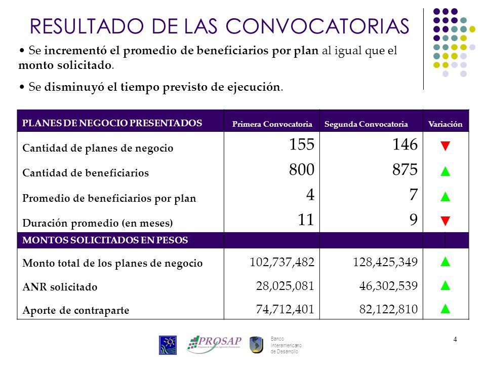 Banco Interamericano de Desarrollo 4 PLANES DE NEGOCIO PRESENTADOS Primera ConvocatoriaSegunda Convocatoria Variación Cantidad de planes de negocio 15