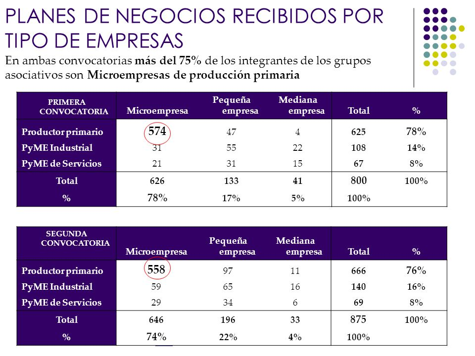 Banco Interamericano de Desarrollo En ambas convocatorias más del 75% de los integrantes de los grupos asociativos son Microempresas de producción primaria SEGUNDA CONVOCATORIA Microempresa Pequeña empresa Mediana empresaTotal% Productor primario 558 9711666 76% PyME Industrial59651614016% PyME de Servicios29346698% Total64619633 875 100% % 74% 22%4%100% PRIMERA CONVOCATORIA Microempresa Pequeña empresa Mediana empresaTotal% Productor primario 574 474625 78% PyME Industrial31552210814% PyME de Servicios213115678% Total62613341 800 100% % 78% 17%5%100% PLANES DE NEGOCIOS RECIBIDOS POR TIPO DE EMPRESAS