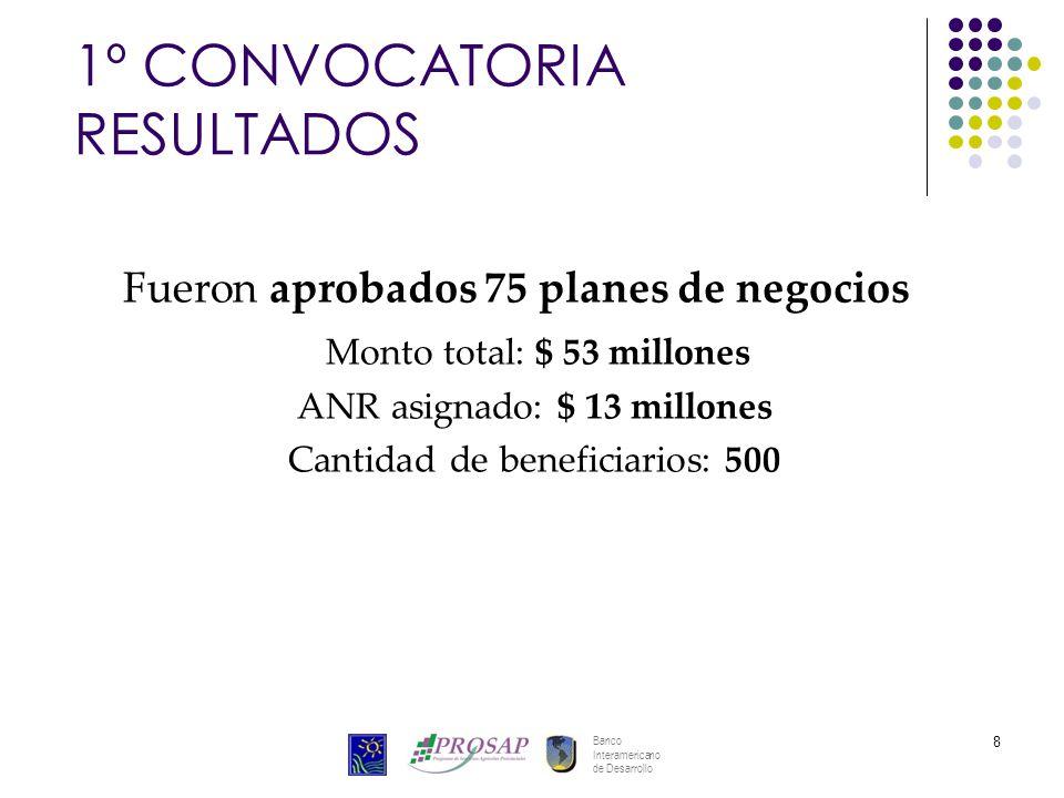 Banco Interamericano de Desarrollo 8 1º CONVOCATORIA RESULTADOS Fueron aprobados 75 planes de negocios Monto total: $ 53 millones ANR asignado: $ 13 millones Cantidad de beneficiarios: 500